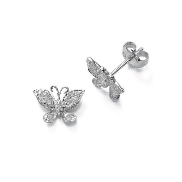 Small Pavé Diamond Butterfly Earrings, 14K White Gold
