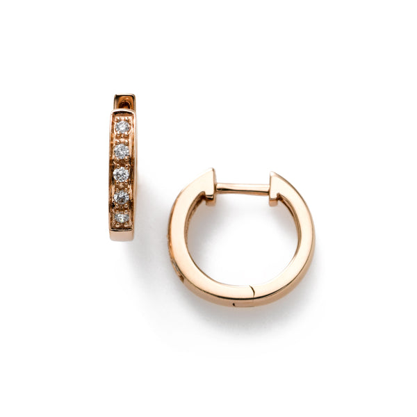 Mini Hoops, Diamonds .10 Carat, 14K Rose Gold