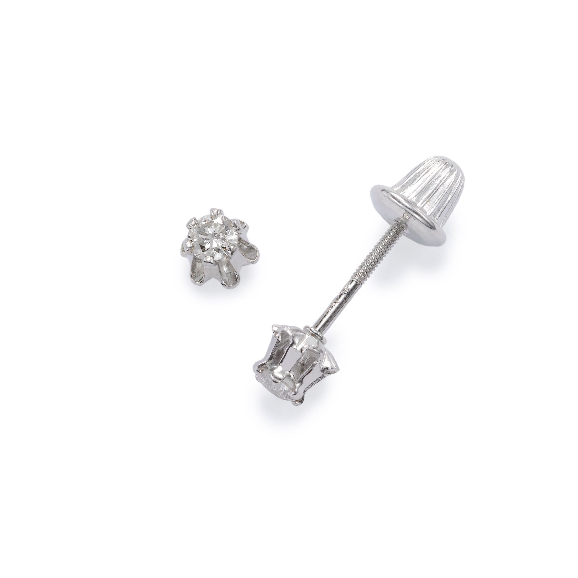 Child's Diamond Studs, Total Weight .14 Carat, 14K White Gold