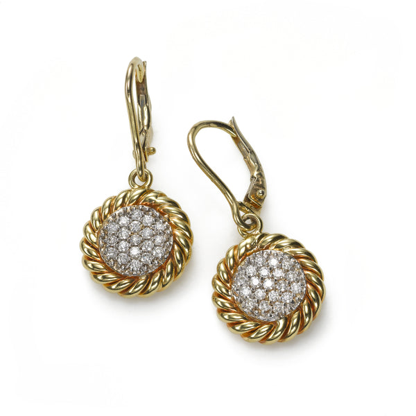 Pavé Diamond Dangle Earrings, .50 Carat, 14 Karat Gold