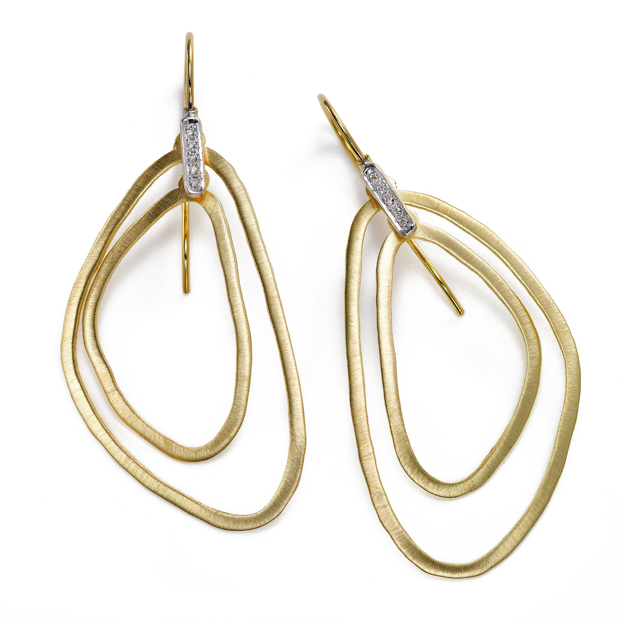 Double Drop Earrings with Diamond Accent, 14K Yellow Gold