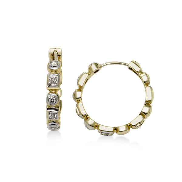 Multi Shape Bezel Diamond Hoop Earrings, 14 Karat Gold