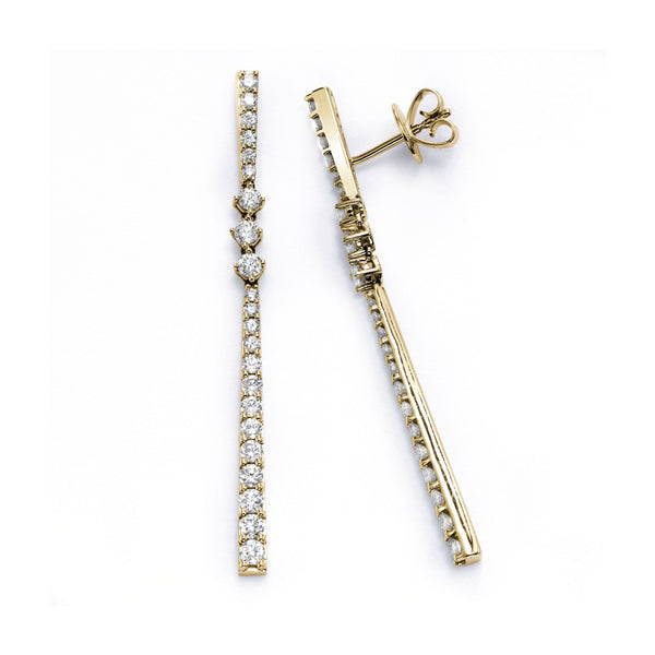Long Diamond Drop Earrings, 18K Yellow Gold