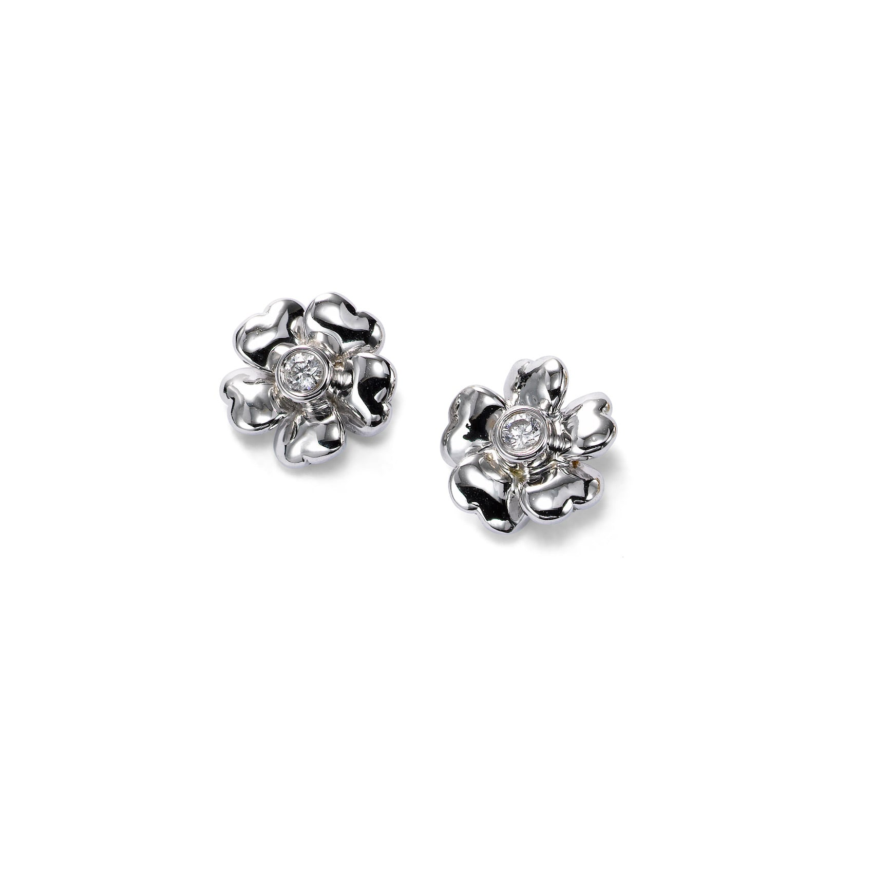 Small Flower Earrings with Diamond Center, 14K White Gold