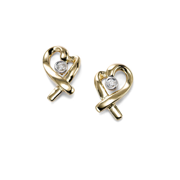 Heart Ribbon Earrings with Diamond Center, 14K Yellow Gold
