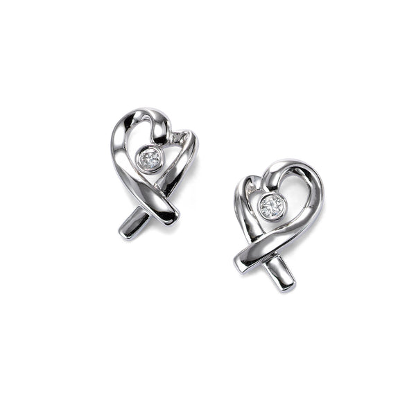 Heart Ribbon Earrings with Diamond Center, 14K White Gold