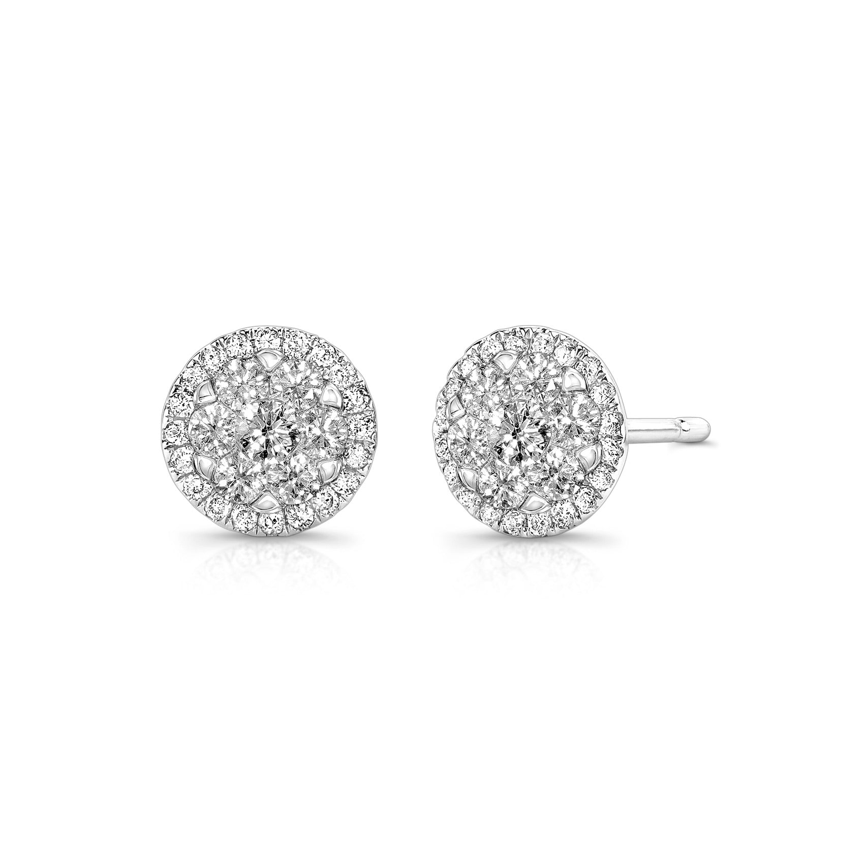 Round Diamond Cluster Earrings, 14K White Gold