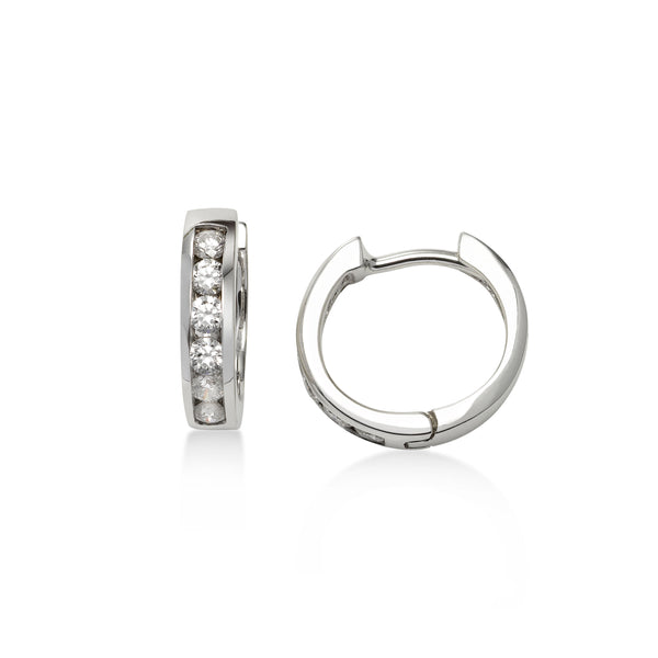 Channel Set Diamond Huggie Hoop Earrings, 14K White Gold