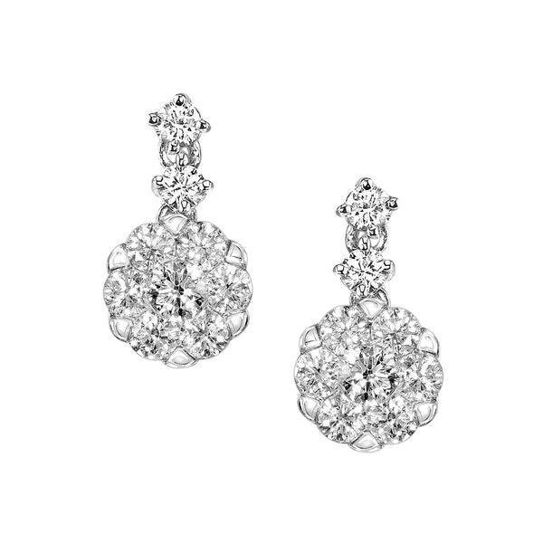 Diamond Cluster Drop Earrings, 14K White Gold