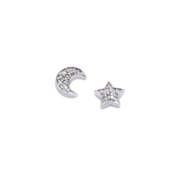 Diamond Moon and Star Stud Earrings, 14K White Gold