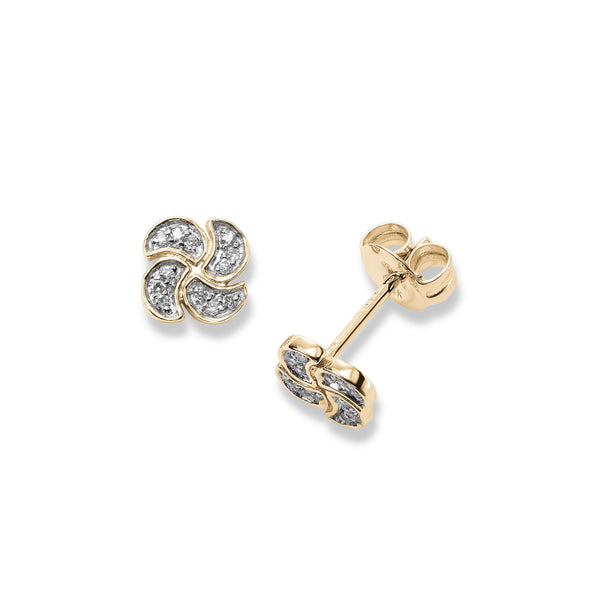 Small Pavé Diamond Swirl Earrings, 14K Yellow Gold