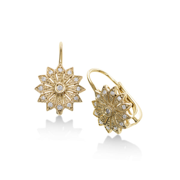 Flower Design Pavé Diamond Earrings, 14K Yellow Gold