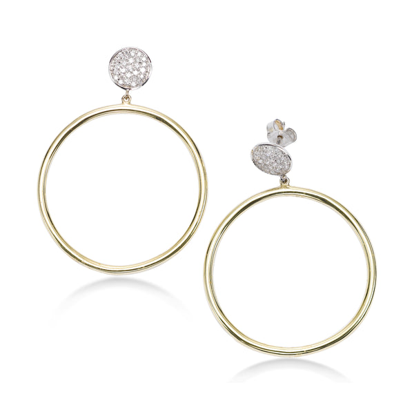 Front Facing Hoop Earrings with Pavé Tops, 14 Karat Gold