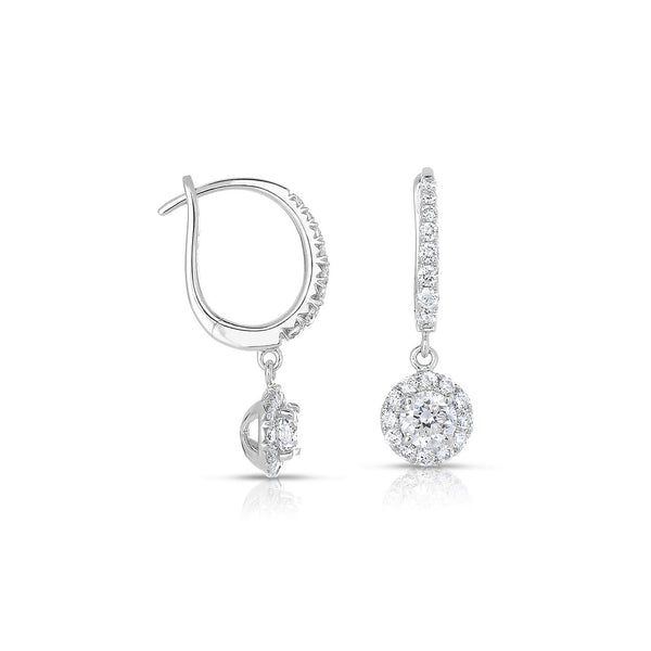Round Diamond Halo Drop Earrings, 14K White Gold