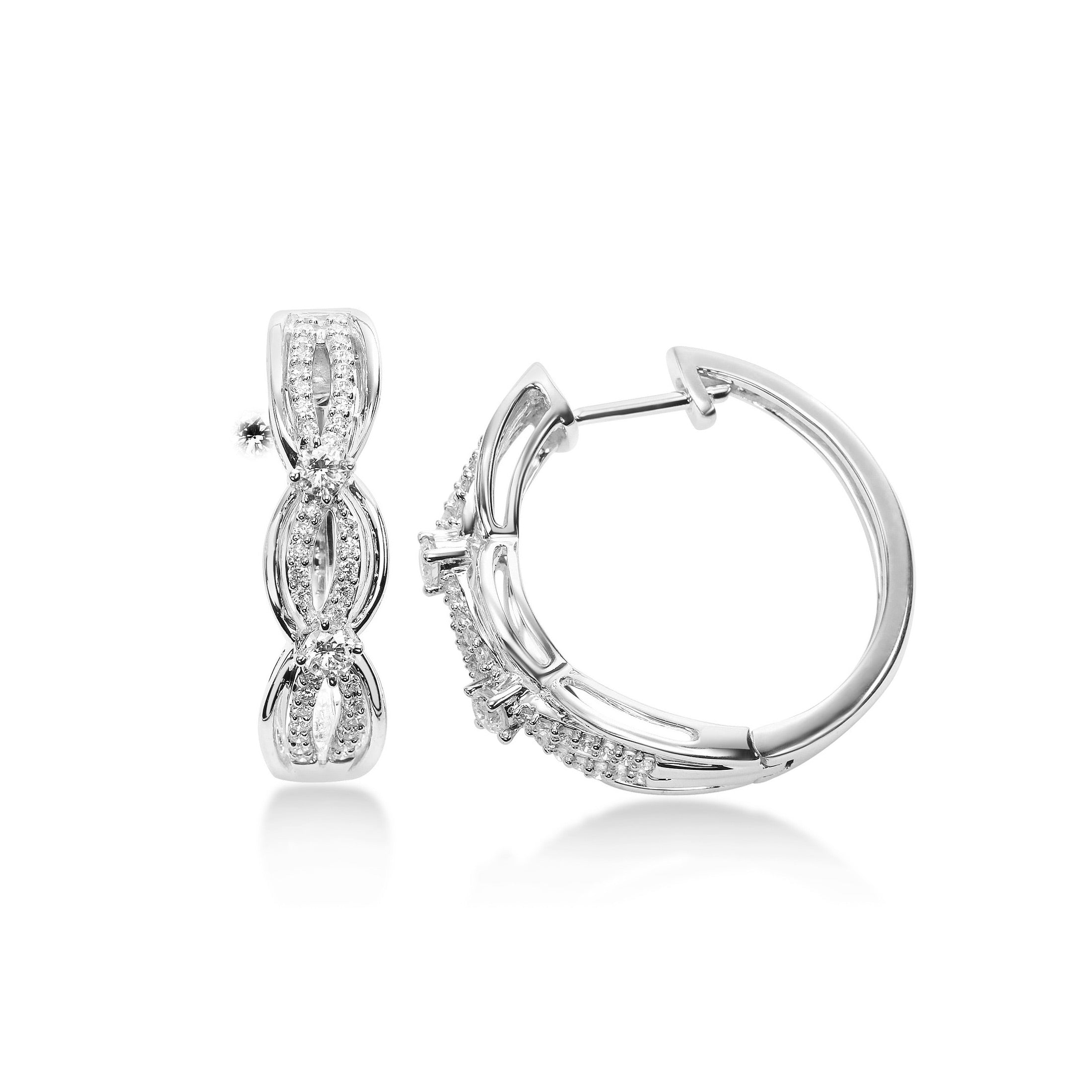 Criss Crossing Diamond Hoop Earrings, 14K White Gold
