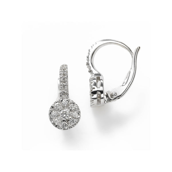 Diamond Cluster Drop Earrings, .60 Carat, 14K White Gold