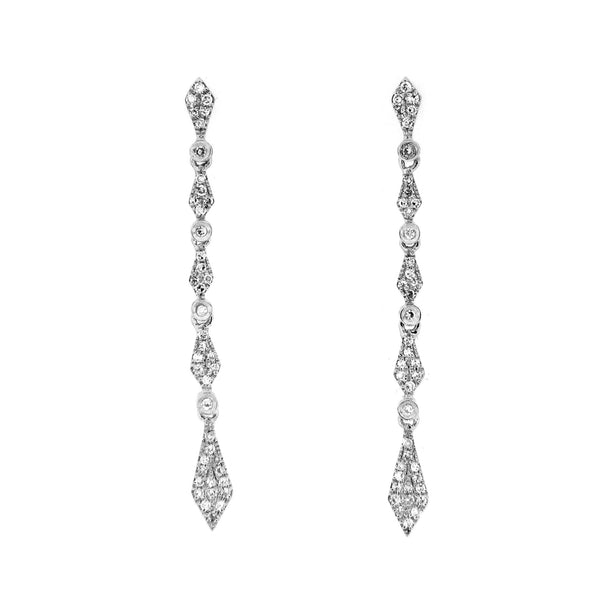 Elegant Pavé Diamond Dangle Earrings, 14K White Gold