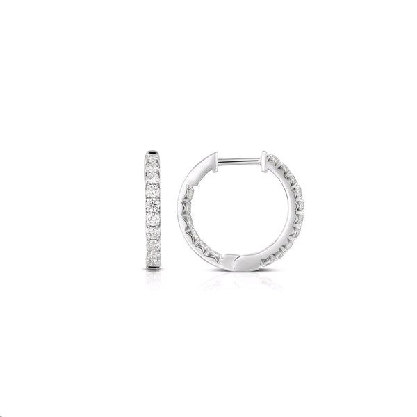 Inside Out Diamond Hoops, .50 Inch, .50 Carat, 14K White Gold