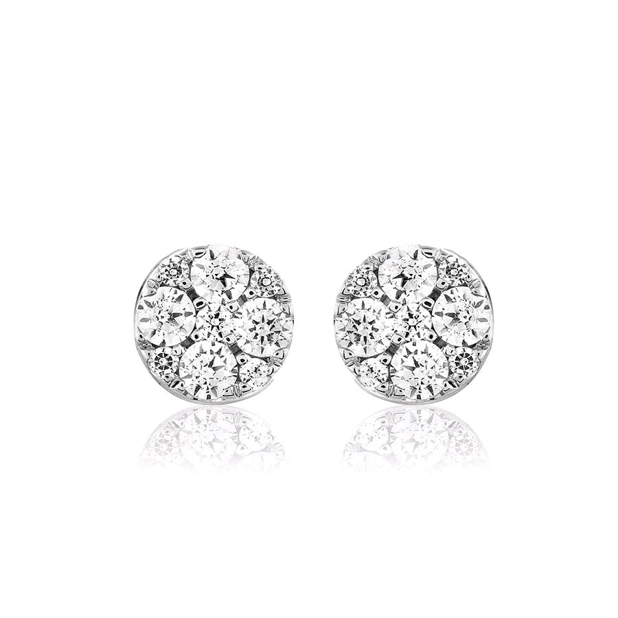 Diamond Cluster Earrings, .51 Carat, 14K White Gold
