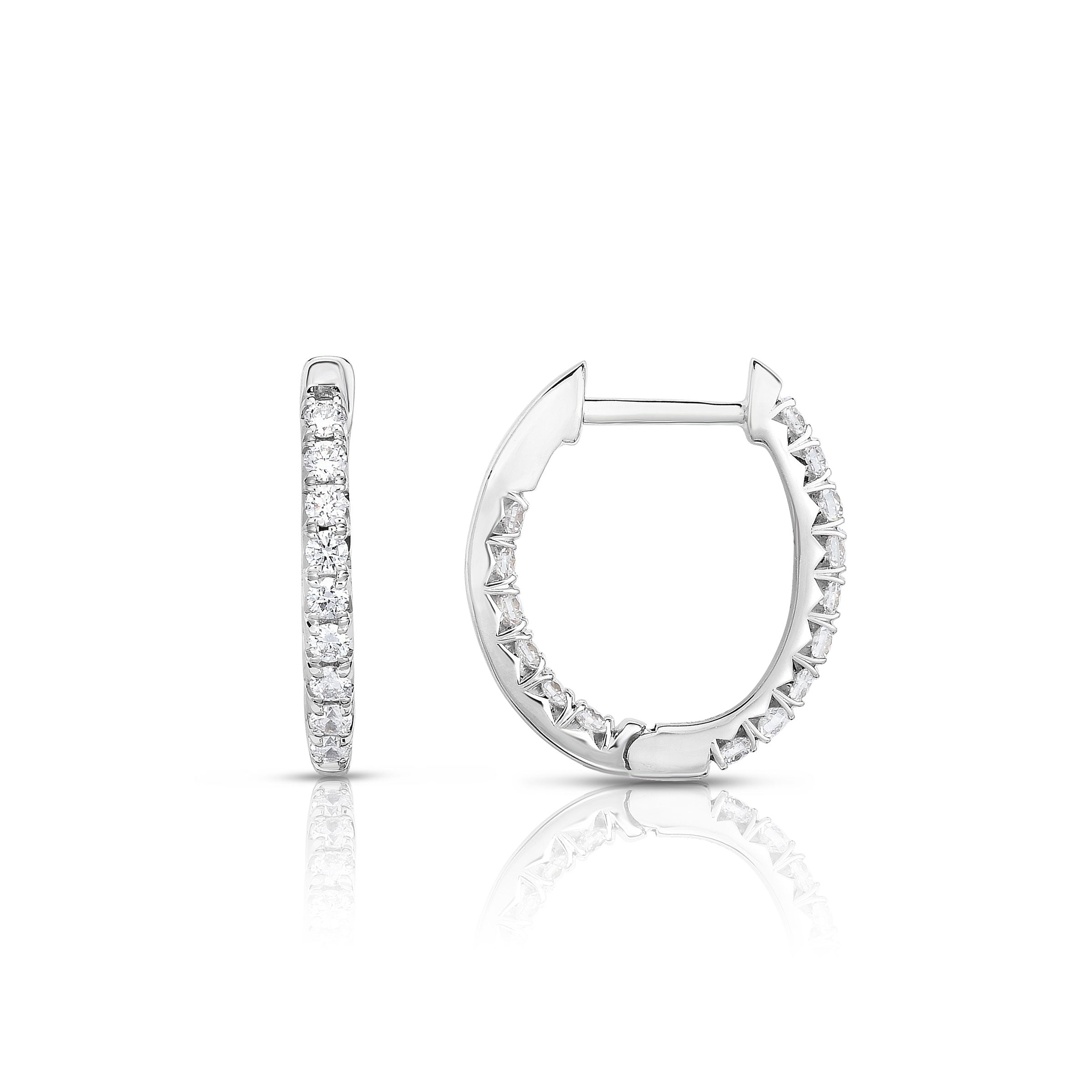 Oval Shape Inside Out Diamond Hoops, 1 Carat, 14K White Gold