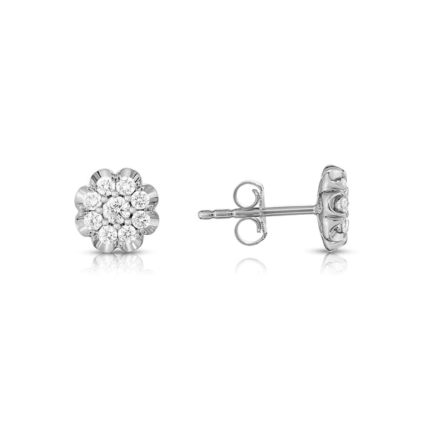 Diamond Flower Shape Stud Earrings, 14K White Gold