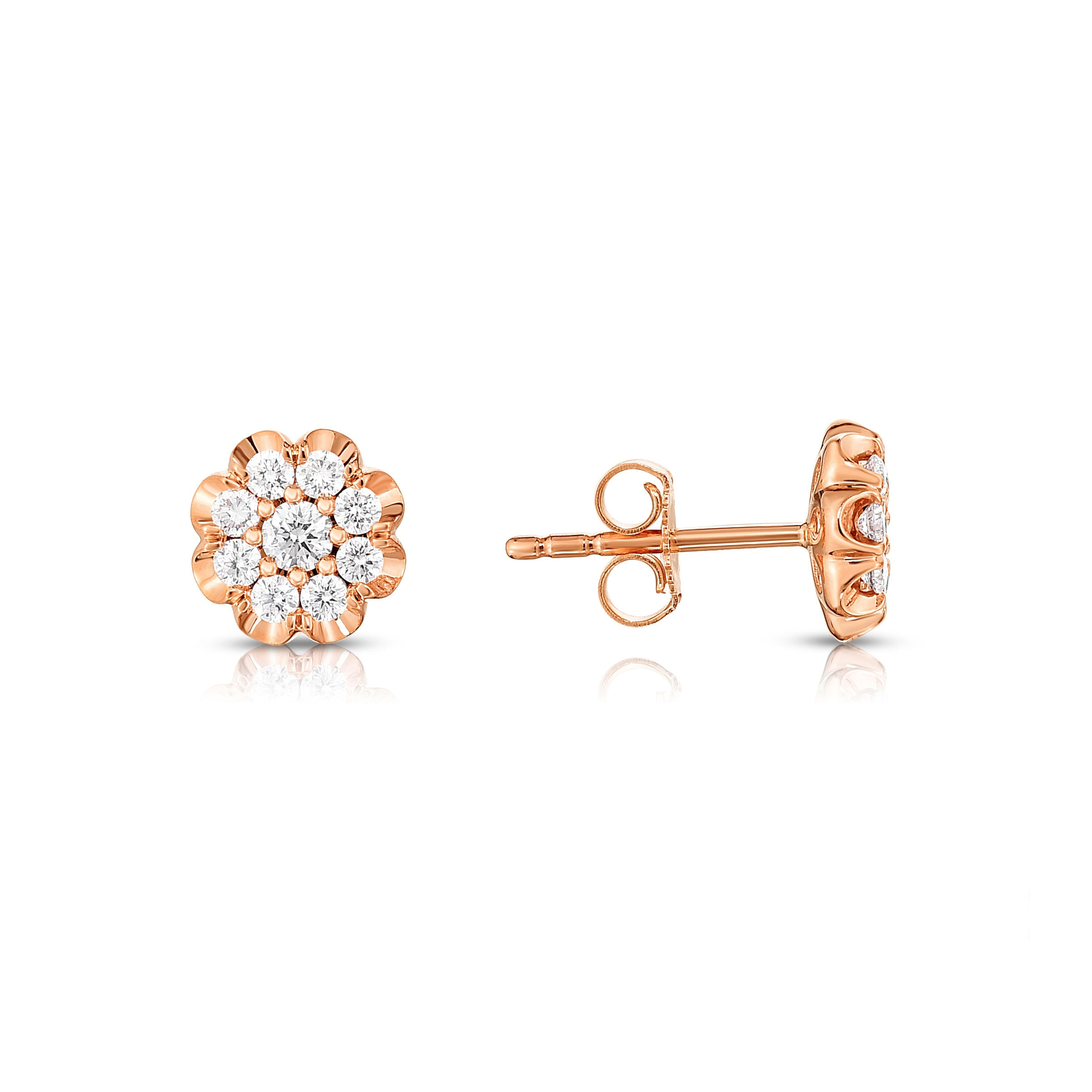 Diamond Flower Shape Stud Earrings, 14K Rose Gold