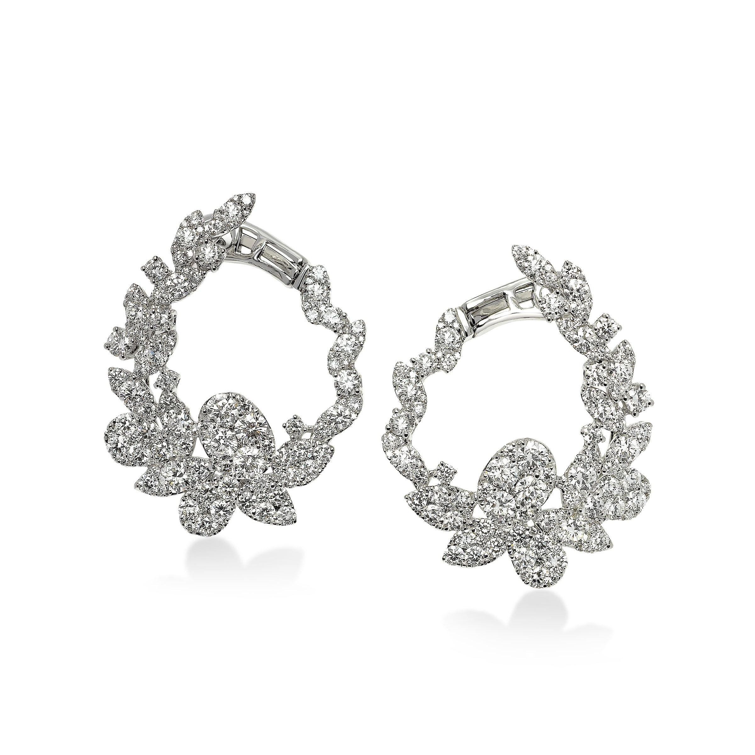 Elegant Diamond Flower Petal Earrings, 18K White Gold