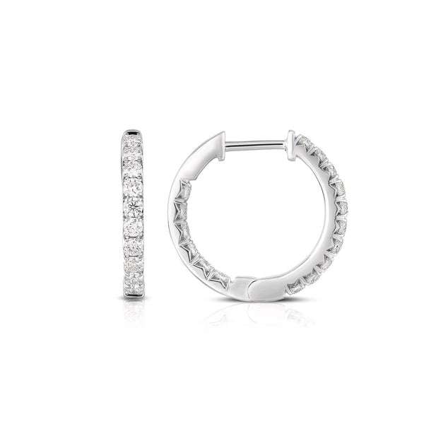 Inside Out Diamond Hoops, .75 Inch, .75 Carat, 14K White Gold