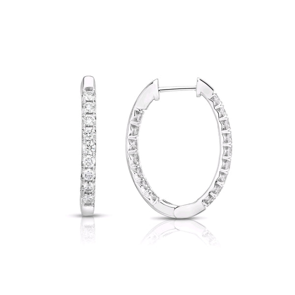 Oval Inside Out Diamond Hoops, 2 Carats, 14K White Gold