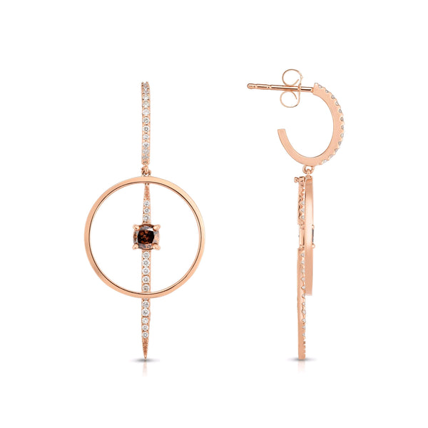 Fancy Brown Diamond Dangle Earrings, 14K Rose Gold