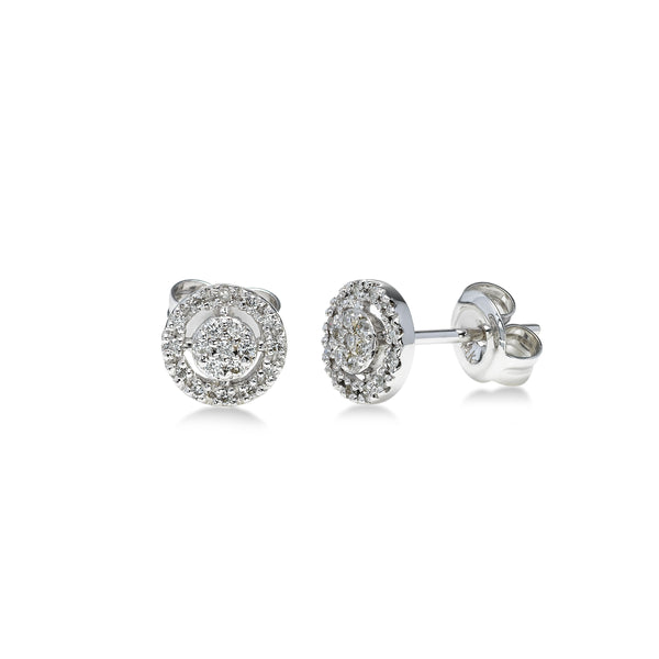 Diamond Cluster with Open Halo Button Earrings, 14K White Gold