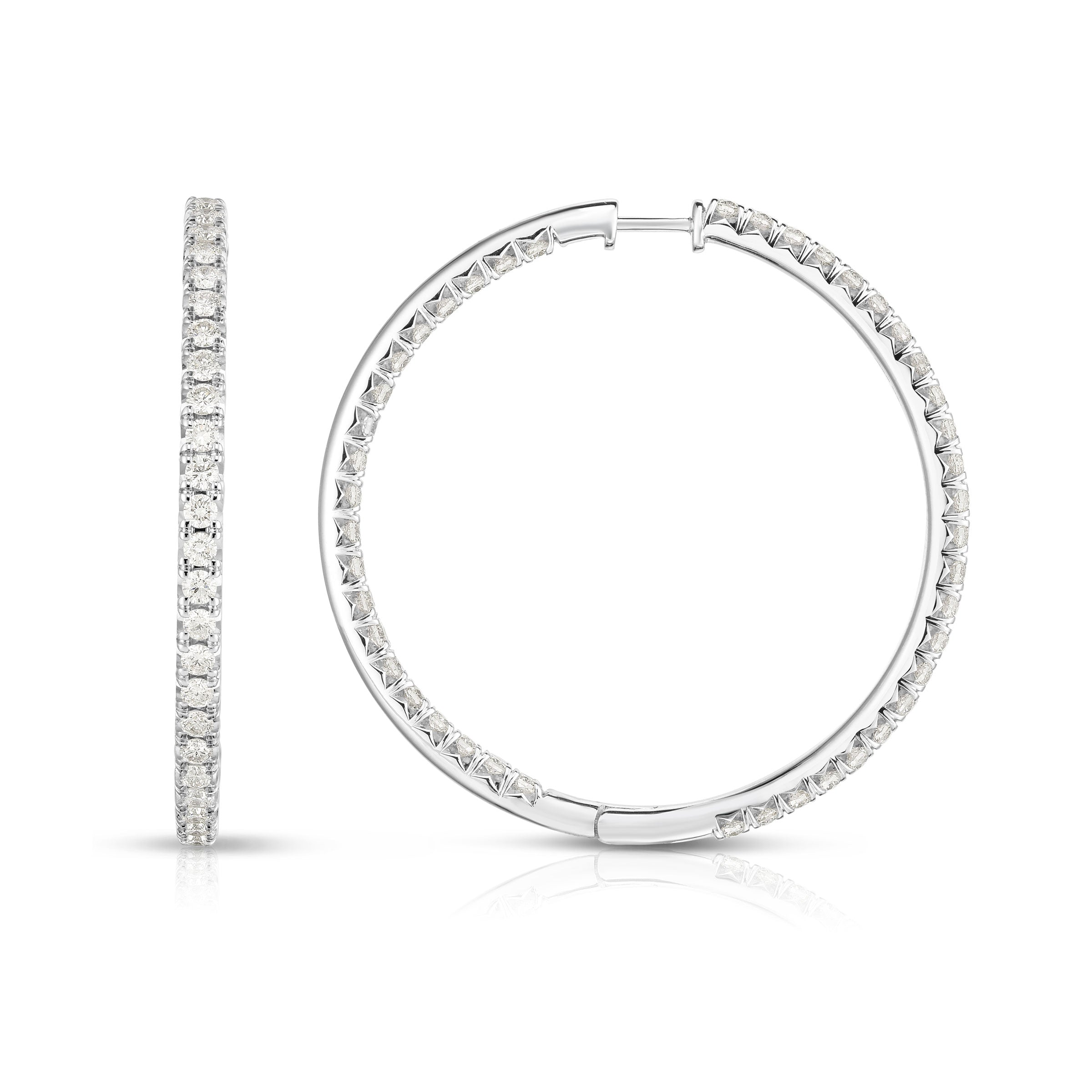 Inside Out Diamond Hoops, 1.50 Inches, 3 Carats, 14K White Gold
