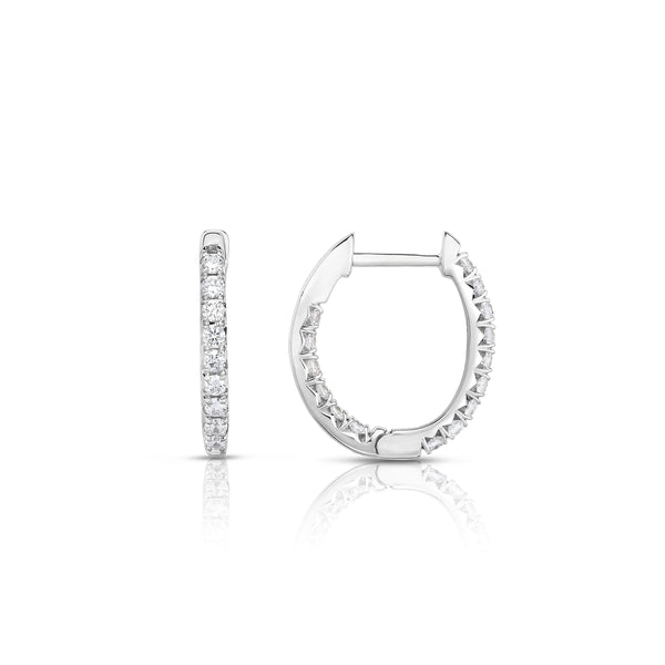 Oval Shape Inside Out Diamond Hoops, .54 Carat, 14K White Gold