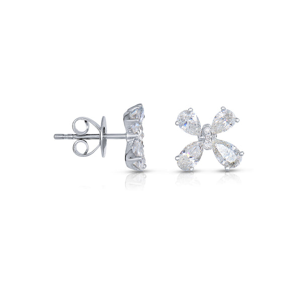 Four Petal Diamond Flower Earrings, 14K White Gold