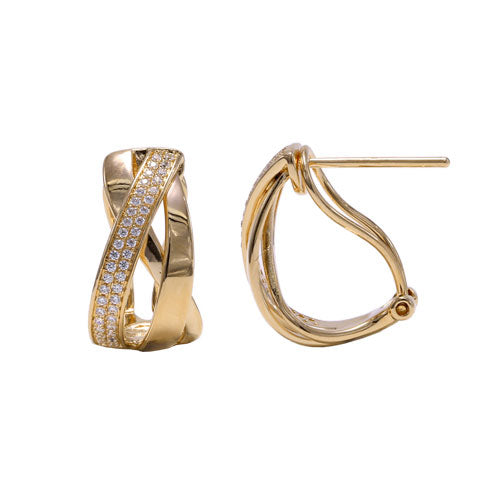 Diamond Intertwined Clip Post Earrings, 14K Yellow Gold