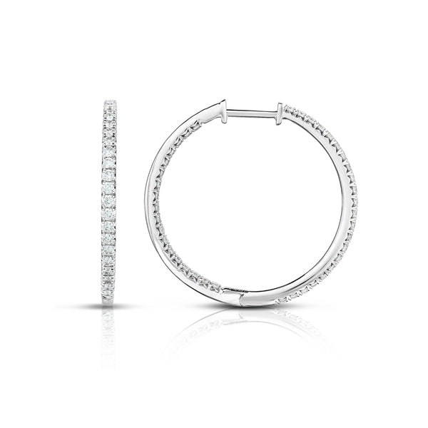 Inside Out Diamond Hoops, 1 Inch, .96 Carat, 14K White Gold