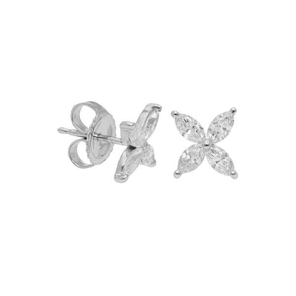 Four Petal Diamond Flower Earrings, 18K White Gold