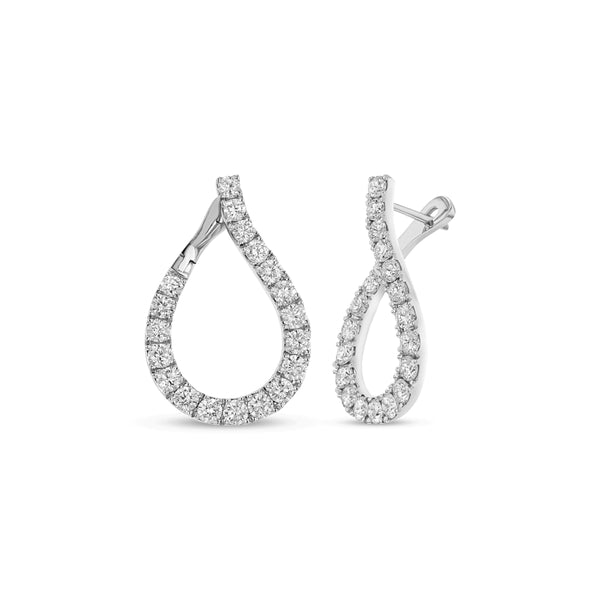 Teardrop Shaped Diamond Hoop Earrings, 18K White Gold