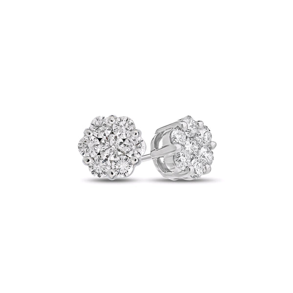 Diamond Cluster Earrings, .25 Carat, 14K White Gold