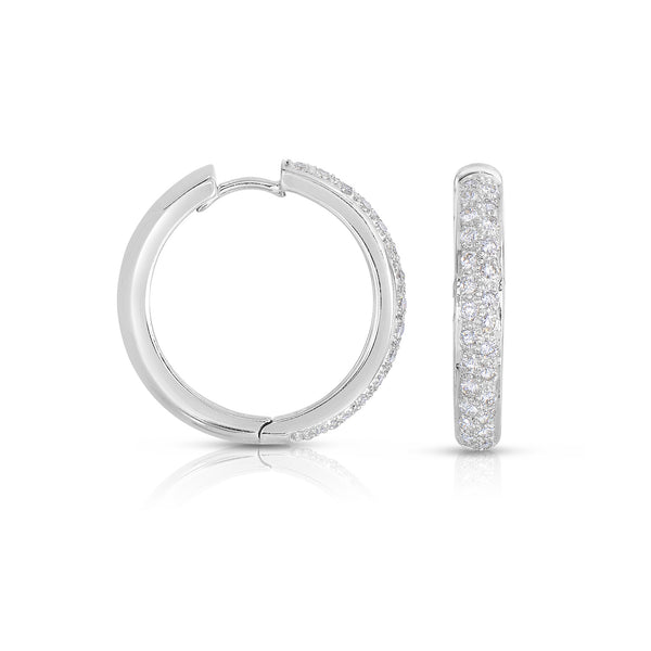 Pavé Diamond Hoop Earrings, .90 Inch, 18K White Gold