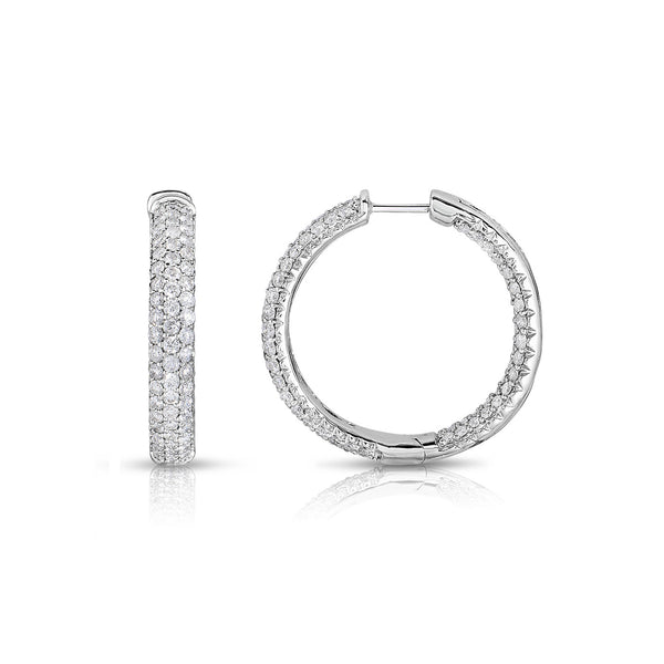 Triple Row Inside Out Diamond Hoop Earrings, 14K White Gold