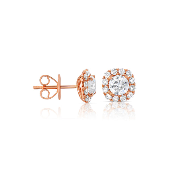 Square Diamond Halo Stud Earrings, 14K Rose Gold