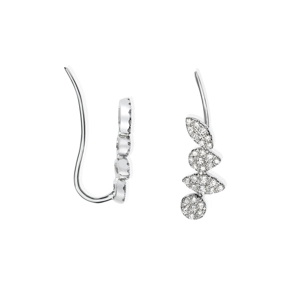 Pavé Diamond Climber Earrings, 14K White Gold
