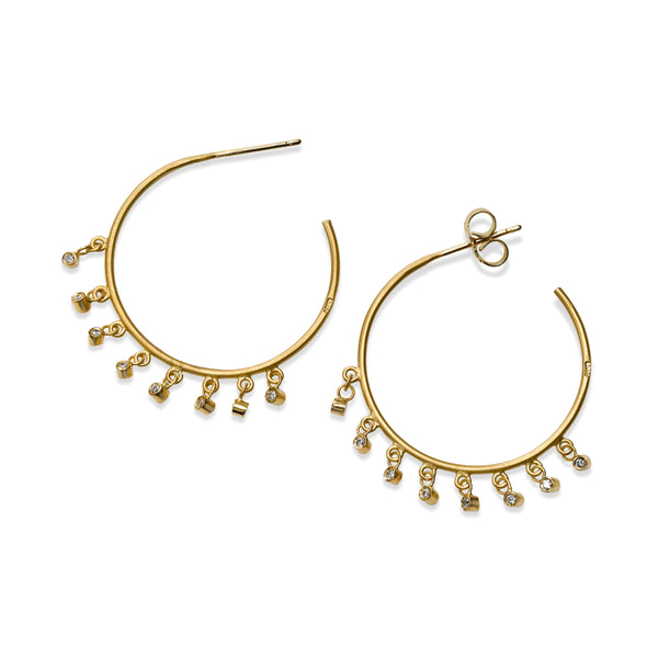 Hoop Earrings with Diamond Dangles, 1 Inch, 14K Yellow Gold