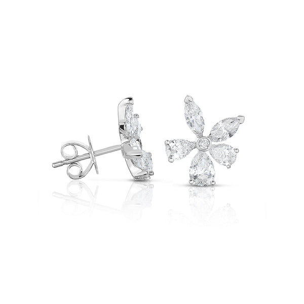 Diamond Flower Stud Earrings, 1.94 Carats, 14K White Gold