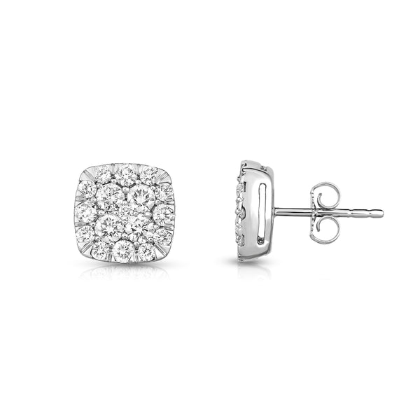 Square Diamond Cluster Earrings, 1.50 Carats, 14K White Gold