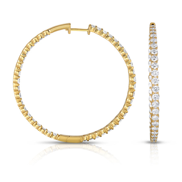 Inside Out Diamond Hoops, 2 Inches, 5.89 Carats, 14K Yellow Gold