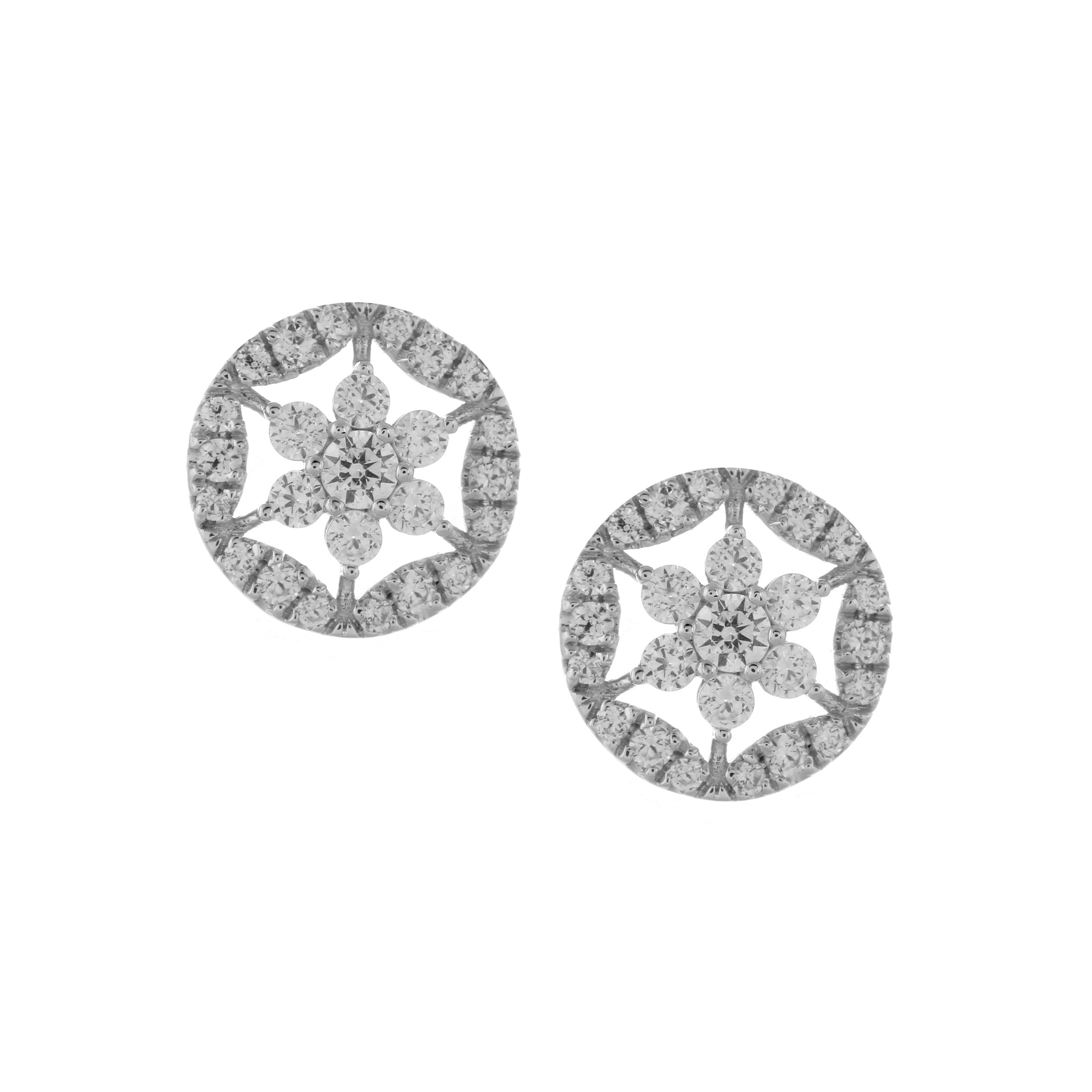 Open Design Diamond Cluster Earrings, 14K White Gold