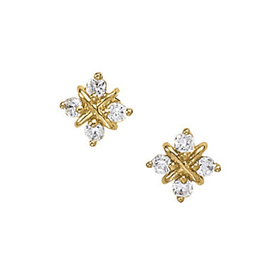 Snowflake Design Diamond Earrings, 14K Yellow Gold