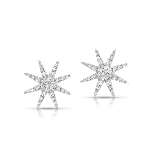 Starburst Diamond Stud Earrings, 14K White Gold
